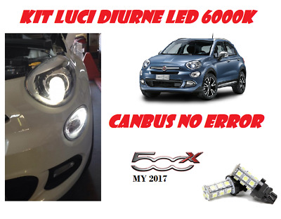 Coppia Luci Diurne Drl 15 Led T20 Canbus Fiat 500X My2017 6000K Super White