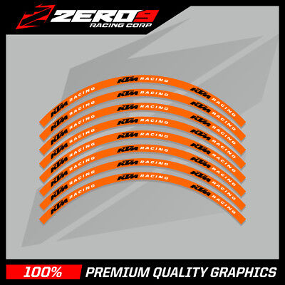 "KTM EXC 125 250 450 MOTOCROSS RIM DECALS Graphics 21"" 18"" ORANGE BLACK"