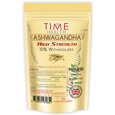 Ashwagandha Root Capsules Natural Extract 10% Withanolides Relaxation