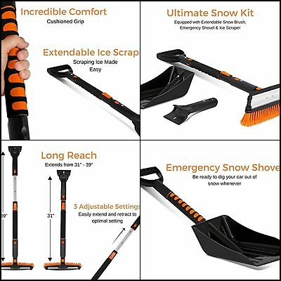 Snow Brush with Squeegee, Ice Scraper & Emergency Snow Shovel Foam Grip, Car SUV