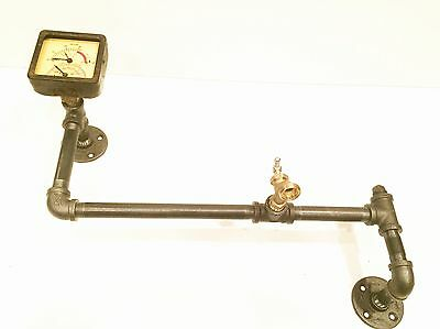 Steampunk Industrial Pipe Wall Hook with Square Vintage Gauge and Valve