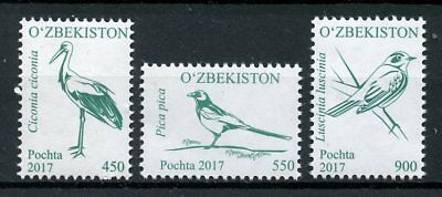 Uzbekistan 2017 MNH Birds Definitives Part 2 3v Set Magpies Storks Stamps
