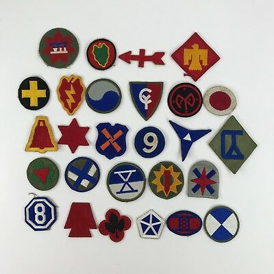 Lot of 27 Vintage United States Army WWII Infantry Patches Military Uniform