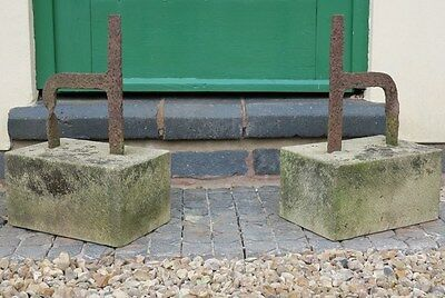 Pair of Old Boot Scrapers on Stone Bases - Wrought Iron Shoe Garden Ornament
