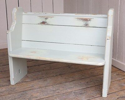 Antique Painted Old Church Pitch Pine Pew - Vintage Wooden Bench Settle Seating