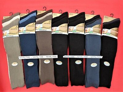 6 Pairs Mens Long Hose Socks Knee High 100% Cotton Gentle Grip Soft Top 6 - 11