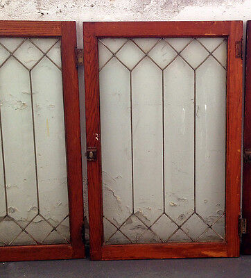Pair of Antique Framed Leaded Glass Cabinet Windows