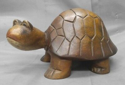Hand carved wooden turtle figure wood carving