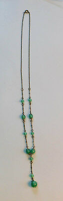 Vintage Art Deco Green Glass Opal Necklace Chain Pendant A41