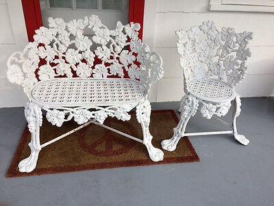 Ornate Victorian Courting Set, Authentic Cast Iron Beauty For Your Garden!