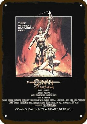 1982 CONAN THE BARBARIAN Theater Movie Release Vintage Look REPLICA METAL SIGN