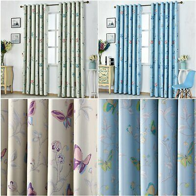 Patterned Thermal Blackout Curtains Eyelet Ready Made Pair Of Curtain Kids Child