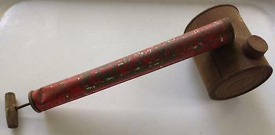 vintage red tin canister Steampunk insecticide duster spray bug killer