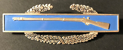 WW2 US MILITARY RIFLE STERLING SILVER BLUE ENAMEL COMBAT AWARD MEDAL PIN Infant