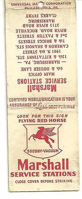 Matchbook Cover Marshall Service Stations Socony Vacuum Flying Red Horse gas oil