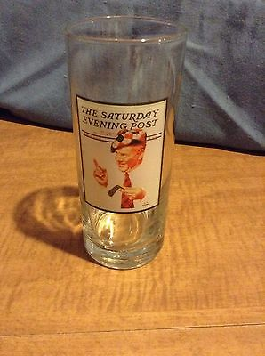 "Norman Rockwell Saturday Evening Post Drinking Glass 4.5"" Tall"