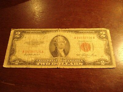 1953 - USA - two dollar bill - $2 American note - A 14550726 A