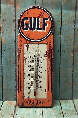 Gulf Oil Gasoline Wall Thermometer Man Cave Garage Shop Porch Resturant  Repro