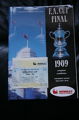 Everton v Liverpool 1989 FA Cup Final Programme + Ticket Stub