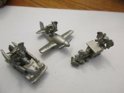 Spoontiques 1980's Pewter Elephant Collectibles Lot of 3 Fire Airplane Train