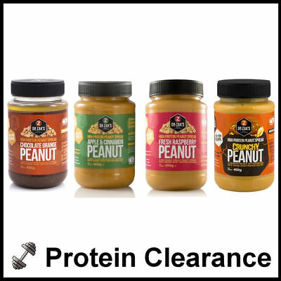 Dr Zaks High Protein Peanut Butter 500g Whey Isolate + Fibre 4 Pack BBE 09/2017