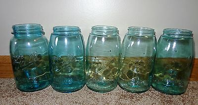 5 Old Vintage 1910-1923 Ball Mason Antique Blue Wavy Glass Quart Canning Jars