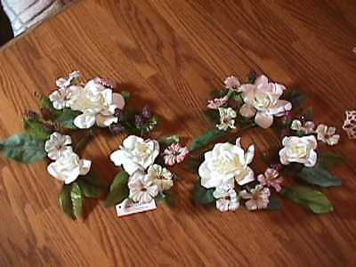 2 Home Interiors Decor Floral Candle Rings Holders