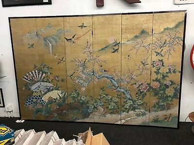 Antique Japanese Watercolor On Paper 6 Panel Room Screen