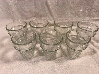 8 Libbey Clear Glass Ice Cream Cone Cups Float Glasses EUC