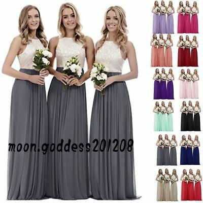 Long Chiffon Lace Evening Formal Party Ball Gown Prom Bridesmaid Dress Size 6_22