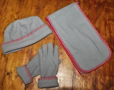 Cute Scarf, Hat & Gloves Set - Grey Fleece with Red Edging - Scandi/Modern