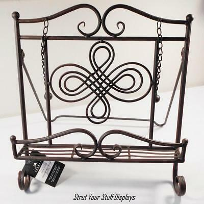 1 COOKBOOK STAND~Swirl Design. Black Antq Finish. NEW. For COOK BOOKS,ART,ALBUMS
