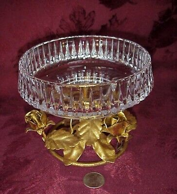 Vintage Italian Toole-ware Gold Gilt Rose Pedestal Crystal Glass Compote