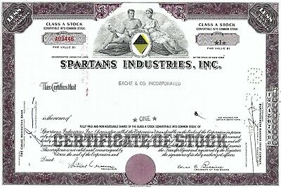 Spartans Industries Inc., New York, 1967 (1 Share)
