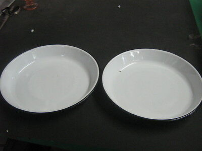 2 old antique vintage porcelain enamel pair of black white pans / bowls 10""