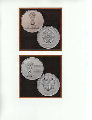 Russia 25 Rubles Coin x 2 Pcs, 2018 FIFA World Cup, Soccer 1st & 2nd Issue UNC