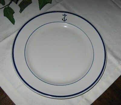 """Shenango China """"US Navy Mess Wardroom Officer"""" Dinner Plate WW II w/ Blue Anchor"""