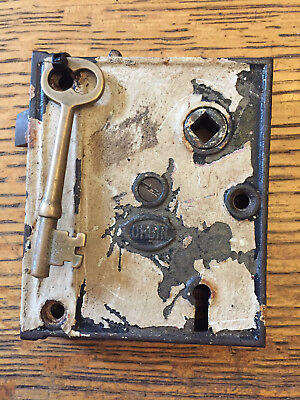 Antique steel Corbin interior box lock/rim lock with key