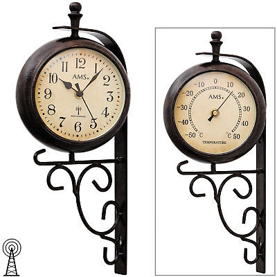 ams 5961 wanduhr funk funkwanduhr mit thermometer antik vintage retro wetterfest eur 76 50. Black Bedroom Furniture Sets. Home Design Ideas