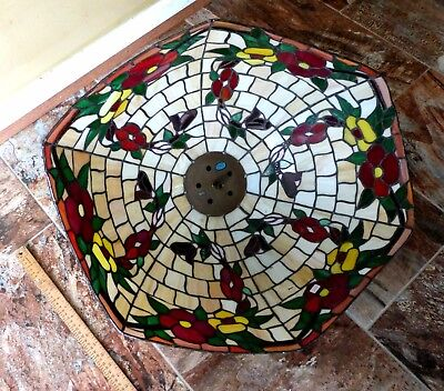 "LARGE 24""X 19"" TIFFANY STYLE STAINED GLASS Hanging OVAL FLORAL LAMP SHADE 'READ'"
