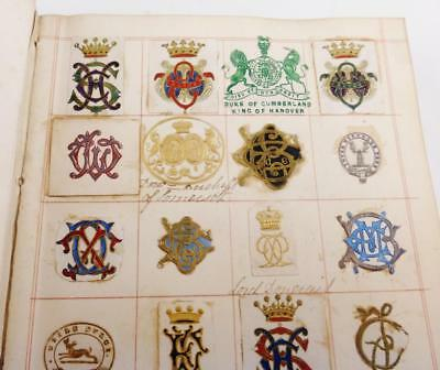 Antique Victorian Edwardian Album Of 305 Embossed Monograms Crests Coats of Arms
