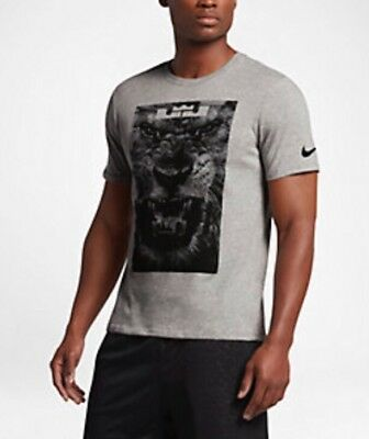 bb2f29ce NIKE MEN'S DRI-FIT LeBron James Lion Head Tee Grey T-Shirt 917379 ...