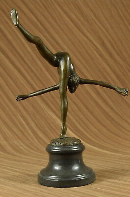 Hand Made EDITION FLOOR KID GYMNAST BRONZE SCULPTURE ON MARBLE BASE ART FIGURINE