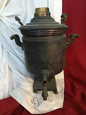 Antique Russian Brass & Copper Samovar, Wooden Handles, Marked w/ Cyrillic Seals
