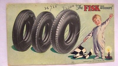 1928 Fisk Tire Boy w/ Checkered Flag Advertising Ink Blotter