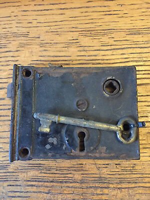 Antique steel interior box lock/rim lock with key