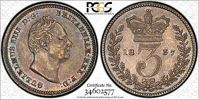 Pcgs Au-58 Great Britain Silver 3 Pence Threepence 1837 (Mintage: 430K) Scarce!