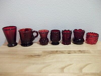 LOT of 7 Ruby Red Mini Depression Vintage Art Glass / Cordial Glasses Etc.