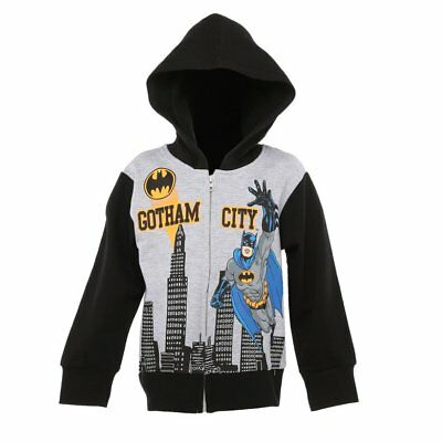 NWT DC Comics Batman Boys Gray Hoodie Hooded Sweatshirt Jacket 5 6 7