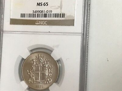 Rare 1971 (Island)Iceland 10 Kronur perfect NGC MS65 really great example pretty